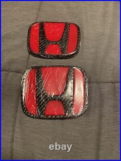 10th gen civic emblem, Red and Carbon Fiber. Brand New. Still Wrapped