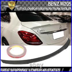 15-20 Benz W205 Carbon Fiber CF Rear Boot Trunk Spoiler Wing Deck Kit V Style