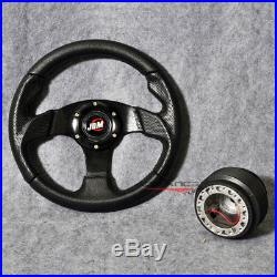 280MM Steering Wheel Type 2 Black PVC Leather Carbon Look + Hub Adapter JDM Horn