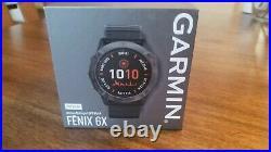BRAND NEW! Garmin Fenix 6X Pro Solar Titanium Carbon Gray DLC with Black Band
