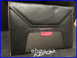 Brand New Aznom Italy Real Carbon Fiber Black Leather Bag Pouch Wallet case