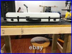Tonareli white violin case, oblong carbon fiber style brand new, from shop